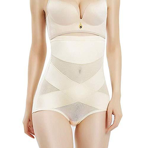 (PAUKEE Shapewear for Women Hi-Waist Brief Tummy Control Underwear Slimmer Body Shaper Butt Lifter Panty Girdle (Beige, 2XL=12-14))