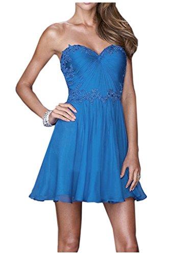 Braut Brautjungfernkleider Attraktive von Partykleider mia Knie Blau Mini Abendkleider La Spitze Chiffon Traegerlos Oberhalb Y5BqfCw