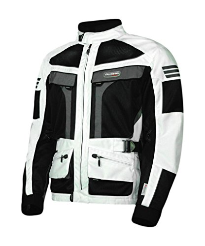 Olympia Moto Sports MJ222 Men's Dakar Dual Sport Mesh Tech Jacket (Ivory/Black, X-Large)