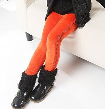 fa50469b500f Nice Girls Orange Polyester Velvet Leggings