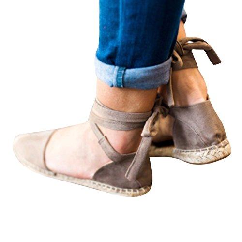 Desnudo Vendimia Cordones Cerrado Sandalias Verano Plataforma Zapatos Caqui Mujer con 36 43 Juleya Moda Zapatos Zapatos Planos Sandalias qfUwxHv8