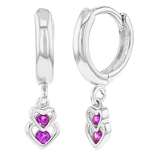 dc4cbf297f1e In Season Jewelry - Chapado en Rodio Circonita Fucsia Corazón Aretes  Colgante para Niñas Lovely