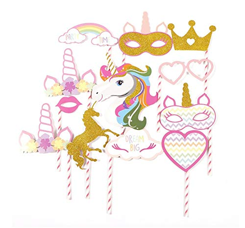 Unicorn Photo Booth Props, Rainbow Unicorn Party Supplies, for Girls kids Birthday Baby Shower Party (12 -