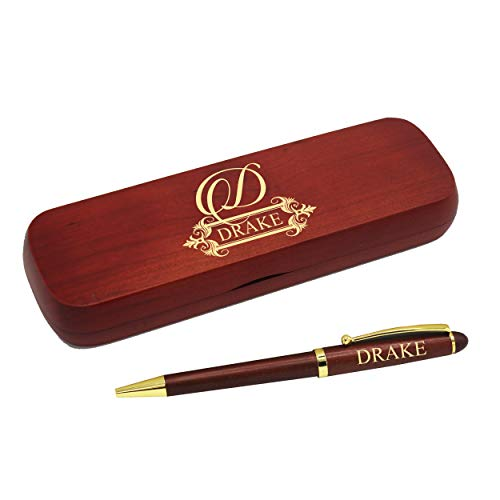 (Personalized Pen with Monogrammed Case - Custom Engraved Ballpoint Pen Gift Set for Men and Women (Rosewood))