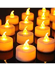 2021 Kekilo Tealight Battery Flameless Candles Including Batteries CR2032, Flameless LED Tealights Flickering Candles with Flickering Effect Warm White (24PCS)