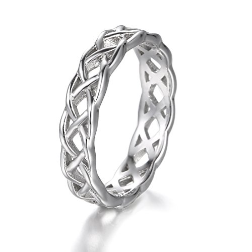 925 Sterling Silver Ring Boruo Celtic Knot High Polish Tarnish Resistant Eternity Wedding Band Stackable Ring Size 10 Photo #2