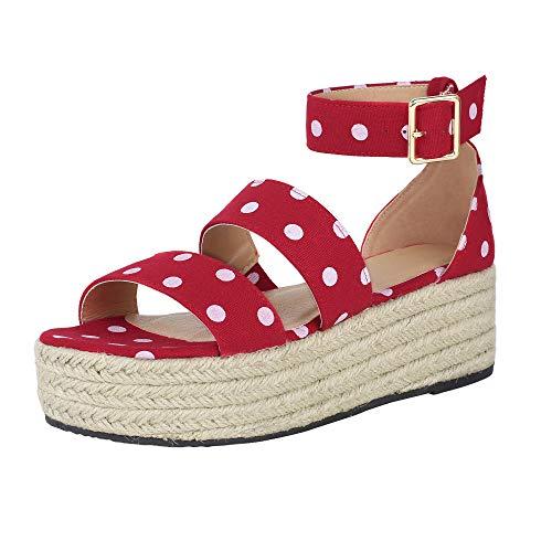 LAICIGO Womens Ankle Wrap Espadrille Flat Sandals Summer Lace Up Platform Sandals