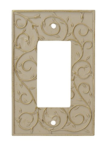 - Meriville French Scroll 1 Rocker Wallplate, Single Switch Electrical Cover Plate, Ivory