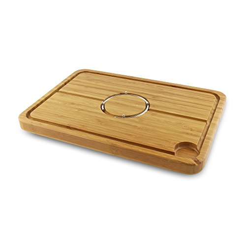 Grunwerg Medium Size Deluxe Bamboo Carving Board [40cm (l) x 28cm (w)] (Carving Board Spikes)