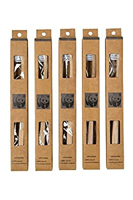 (Buy 5 pack Get 5 Free) New 100% Prime Eco-Friendly Organic Bamboo Toothbrush -Natural Biodegradable Vegan Handle- 5 pk w/BPA-Free Teeth Whitening Soft Medium Bristles for Kids Adults by Dental Health