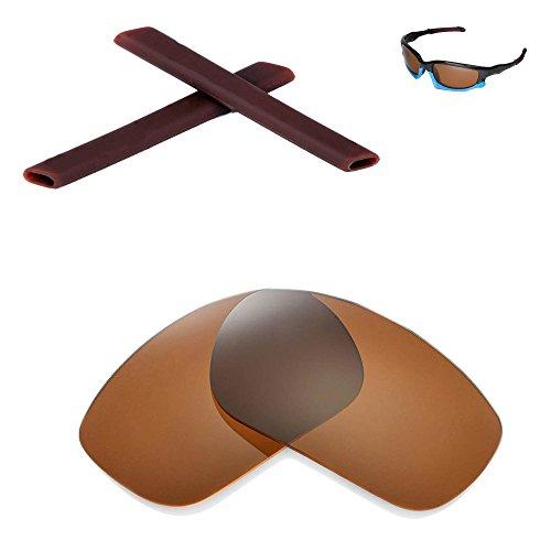 Walleva Replacement Lenses and Earsocks for Oakley Split Jacket - Mulitple Options (Brown Polarized Lenses + Brown Rubber) -  Walleva, LLC, WL032-BR+WE002-BR