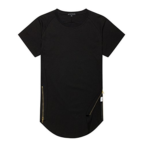 UNRESTRAINED Mens Extended Side Zip Hip Hop T Shirt Size L Black
