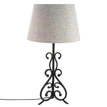 Grande Lampe 74cm Pied Fer Forge Abat Jour Beige Amazon Fr
