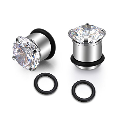 vcmart Pair of Gauges for Ear Stretching Plugs Clear CZ Ear Stretcher Expander Piercing Diamond Gauge Plug with O-Ring 00G(10mm) Silver