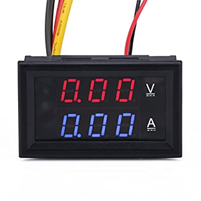 DROK®0.28''LED DC0-100V 10A Digital voltmeter Ammeter 2in1 Multimeter 12V/24V Voltage Amperage Meter Volt Amp Gauge Panel with Red/Blue Dual Color Display and Build-in Shunt for Car Auto Boat Battery Monitoring