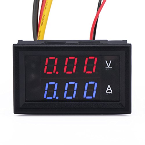 DROK Digital Current Tester Multimeter DC 100V Volt 2A Ampere Battery Monitor Gauge 2in1 Red/Blue 2-color LED Display Car Automotive 12V 24V Built-in Shunt