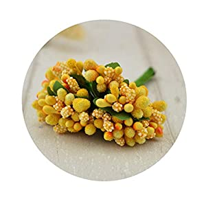 shinney1 12 pcs Stamen Sugar Handmade Artificial Flowers Wedding Decoration DIY Wreath Needlework Gift Box Scrapbooking Fake Flower,5 Orange 7