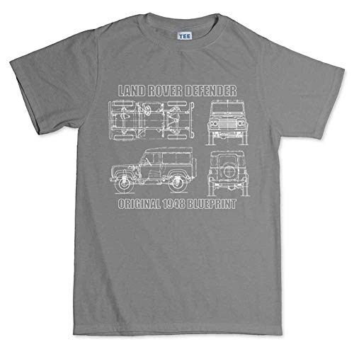 Top-T Land Rover Defender Mens Round Neck Grey Casual T Shirt