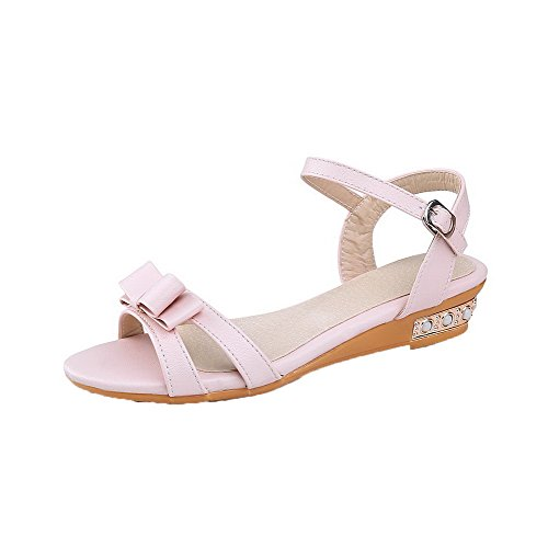 AalarDom Buckle Solid Open-Toe Low-Heels PU Pink-knot