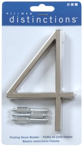 Distinctions by Hillman 843214 5-Inch Floating Mount House, Brushed Nickel, Number 4