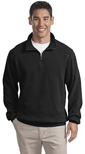 Port Authority Flatback Rib 1 4 Zip Pullover  Black  Xxx Large