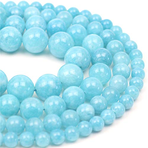"""Oameusa Natural Round Smooth 8mm Sea Blue Chalcedony Agate Beads Gemstone Loose Beads Agate Beads for Jewelry Making 15"""" 1 Strand per Bag-Wholesale"""
