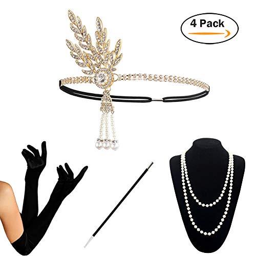 1920s Accessories Set Flapper Costume Women (S4-HAGold) -