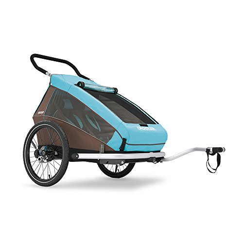 Croozer Premium Multisport Bike Child Trailer/Stoller/Jogger, The Kid Plus for 2 - for Two Children - Sky Blue/Brown - Spring Suspension & Aluminum Frame