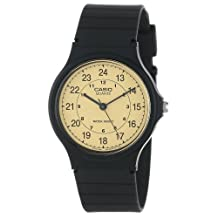 Casio Men's Classic Round Analog Watch, with Military/Standard Time 3-Hand Analog Feature, and Water Resistant, Gold Face with Classic Round Design and Black Numbers, and Resin Band