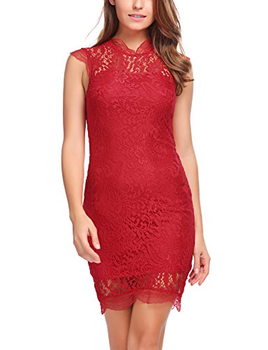 Zeagoo Women's Sleeveless Lace Floral Elegant Cocktail Dress Party Dress (Medium, Wine Red)