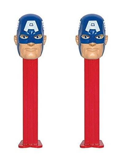 Marvel Superhero PEZ Dispenser with Candy Refills, Pack of 2 (Captain (Pez Collection)