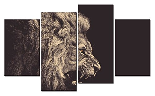 Lion Roar Picture (SmartWallArt - Animal Paintings Wall Art a Ferocious Lion Crack and Roar Staring Into the Distance 4 Pieces Picture Print on Canvas for Modern Home Decoration)