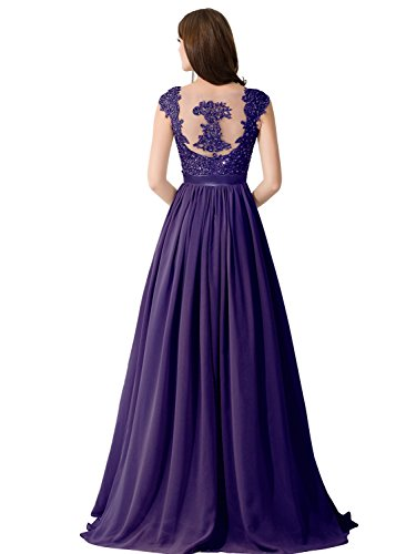 Women Elegant Lace Mother of the Bride Dresses Evening Gown,Purple,Size 6 (Purple Masquerade Dresses)