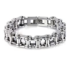 YL Jewelry Men Heavy Sturdy Bike Chain Motorcycle Chain Bracelet of 316L Stainless Steel, Silver Color High Polished 8.7''
