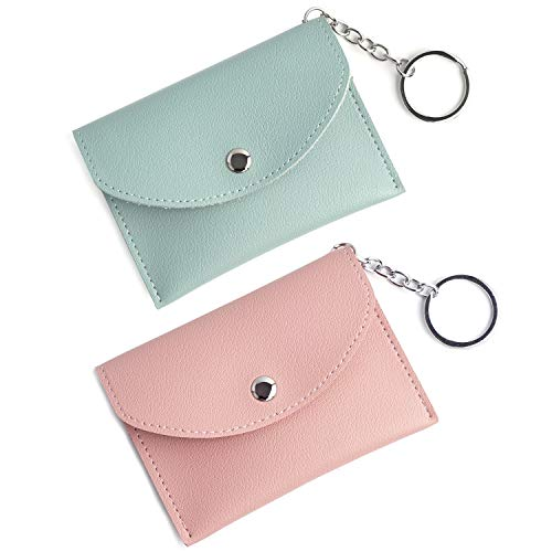 Women's Mini Coin Purse Pouch Change Purse Card Holder Wallet with Key Ring 2 Pack (Wallet Key)