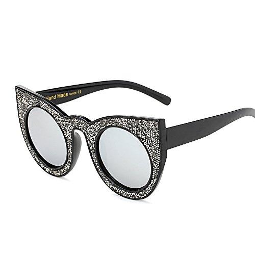 gato B01 para Sparkling sol de Bmeigo Vintage de Ojos UV400 Mujer Retro Frame Gafas Redondo wq7w6TX
