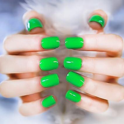 YUNAI uñas postizas - El corto verde del tamaño del clavo falso fresca y hermosa para