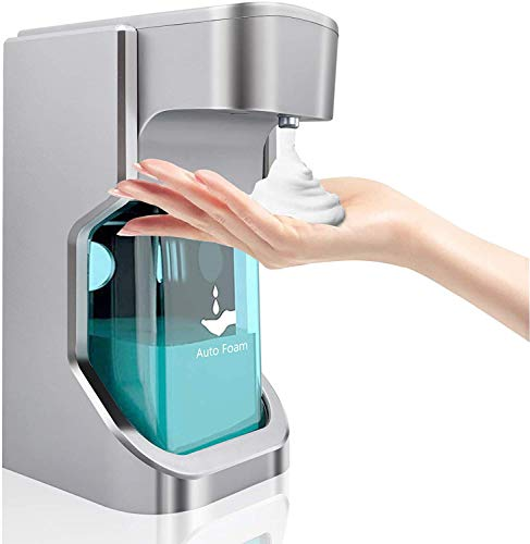 XUNPAS Automatic Soap Dispenser Touchless, Hand Free Soap Dispenser Sanitizer Liquid Soap Dispenser for Bathroom Kitchen USB Charging 17.6oz/500ml (Silver-USB Charging)