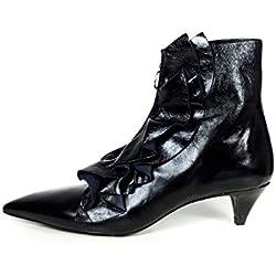 Zara Women Ruffled high heel leather ankle boots 6086/201 (36 EU | 6 US | 3 UK)