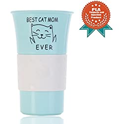 Funny Cat Gift Best Cat Mom Ever PLA 12 OZ Travel Coffee Mug Tea Cup,Rude Cat Lovers Cat Memes Birthday Gift for Women Kids (Blue)