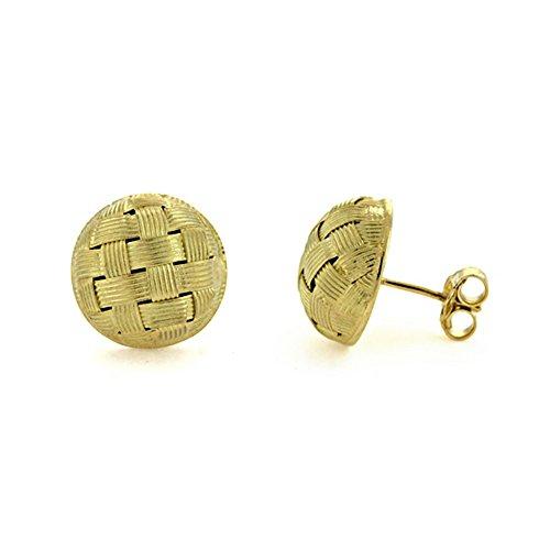 Basketweave Earrings Jewelry - 18k Yellow Gold 14mm Button Textured Finish Basket-Weave Stud Earrings Pair