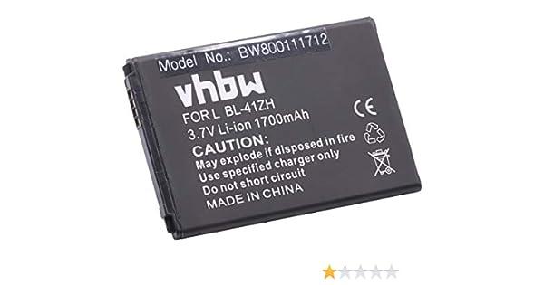 vhbw Li-Ion batería 1700mAh (3.7V) para teléfono móvil Smartphone LG LS665, Tribute 2 TD-LTE, Tribute Duo por BL-41ZH, EAC62378407.: Amazon.es: Electrónica