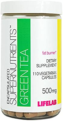 Lifelab Green Tea Extract Pills Weight Loss Supplement 500 mg   110 Vegetarian Capsules 1 Month Supply   Burn Calories   Encapsulated Supernutrients