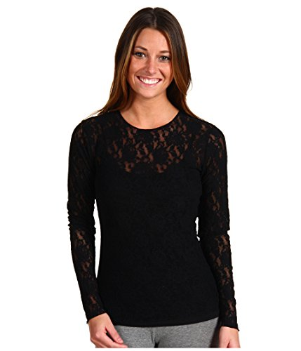 Hanky Panky Women's Signature Lace Unlined Long Sleeve Top, Black, SM