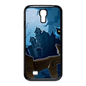 Haunted House Cat and Moon Halloween Samsung Galaxy S4 9500 Cell Phone Case Black Protect your phone BVS_569822