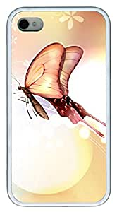iPhone 4 4s Case, iPhone 4 4s Cases Butterfly Love Custom Design TPU Soft Case Cover Protector for iPhone 4 4s White