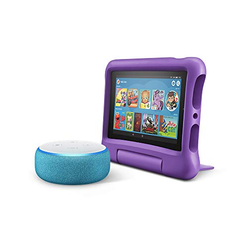 All-New Echo Dot Kids Edition, Blue with Fire 7 Kids Edition Tablet, Purple