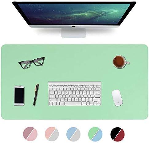 Multifunktionale Schreibtischunterlage, 2020 Nähen Desktop Schreibblock, 900 * 400 * 2mm Büro wasserdicht Anti-Rutsch-Office-Pad Doppelseite PU Leder Büro-grün/blau