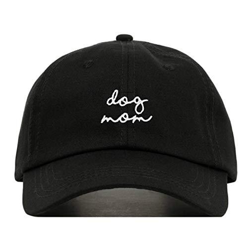 (Dog Mom Baseball Hat, Embroidered Dad Cap, Unstructured Soft Cotton, Adjustable Strap Back (Multiple Colors) (Black))