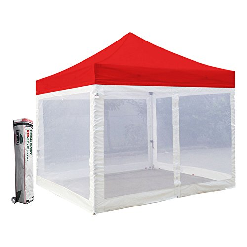 Eurmax Standard 10x10 Ez Pop up Canopy with Four (4) Screen Walls and Wheeled Bag (Red)